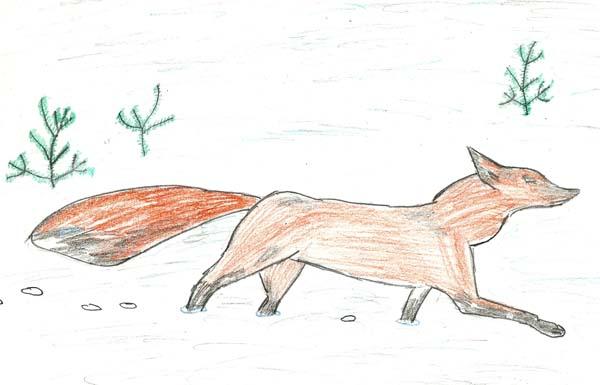 Детский рисунок лиса