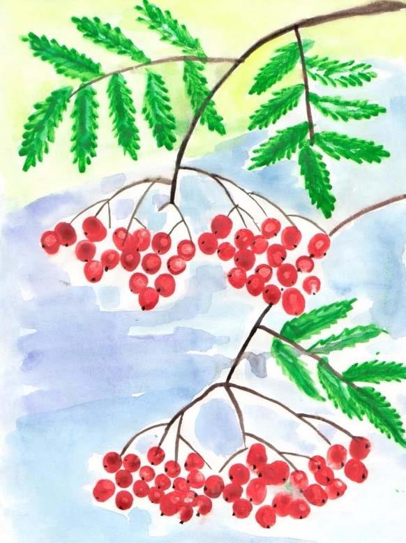 Рябина - рисунок детский